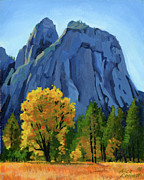 Yosemite Painting Framed Prints - Yosemite Oaks Framed Print by Alice Leggett