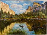 Reflections Of Sky In Water Painting Posters - Yosemite Poster by Rosario Meza