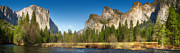 Panoramic Posters - Yosemite valley and merced river Poster by Jane Rix
