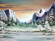El Capitan Painting Prints - Yosemite Valley Artist Point Print by Bill Holkham