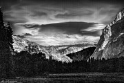 River View Mixed Media Metal Prints - Yosemite Valley Black and White Metal Print by Nadine and Bob Johnston