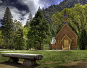 Stone Bench Framed Prints - Yosemite Valley Chapel Framed Print by Kim Michaels