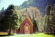 Religious Photo Prints - Yosemite Valley Chapel lomo Print by Jane Rix