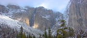 Yosemite Paintings - Yosemite Valley in Winter by Yinguo Huang