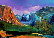 River View Paintings - Yosemite Valley - Tunnel View by Elise Palmigiani