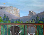 El Capitan Painting Prints - Yosemite Valley View Print by Jennifer Richards