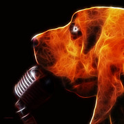 Puppy Digital Art - You Aint Nothing But A Hound Dog - Dark - Electric by Wingsdomain Art and Photography