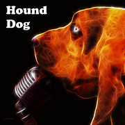 Hound Dogs Prints - You Aint Nothing But A Hound Dog - Dark - Electric - With Text Print by Wingsdomain Art and Photography