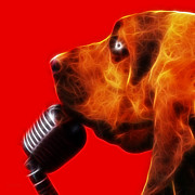 Puppies Digital Art Posters - You Aint Nothing But A Hound Dog - Red - Electric Poster by Wingsdomain Art and Photography