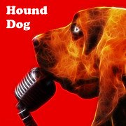 Pups Digital Art - You Aint Nothing But A Hound Dog - Red - Electric - With Text by Wingsdomain Art and Photography