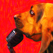 Dogs Digital Art Metal Prints - You Aint Nothing But A Hound Dog - Red - Painterly Metal Print by Wingsdomain Art and Photography