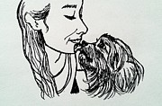 Yorkie Drawings - You are my girl by Esther Rowden