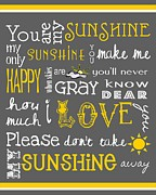 Children Art Prints Posters - You Are My Sunshine Poster by Jaime Friedman