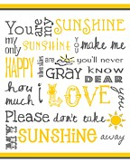 Word Art Digital Art Prints - You Are My Sunshine Poster Print by Jaime Friedman