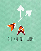 Heart Mixed Media Prints - You Are Not Alone Print by Linda Woods