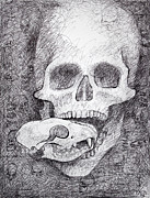Spooky  Drawings - You Are What You Eat skull drawing by Adam Long