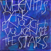 Calligraphy Painting Framed Prints - You Can See the Stars Framed Print by Randi Kander