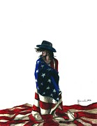 Flag Drawings Prints - You Find Freedom Inside Print by J Ferwerda