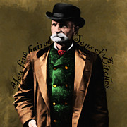 Sizes Digital Art Prints - You Fine Haired Sons Of Bitches 20131011 Black Bart - square black Print by Wingsdomain Art and Photography