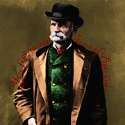 Old West Digital Art Posters - You Fine Haired Sons Of Bitches 20131011 Black Bart - square red Poster by Wingsdomain Art and Photography