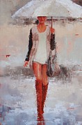Rainy Day Paintings - You Go Girl by Laura Lee Zanghetti