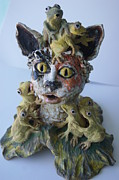 Statue Ceramics - You have to kiss a lot of frogs before you find your prince by Susan  Brown  Slizys artist name