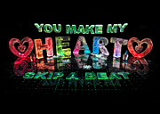 Name In Lights Metal Prints - You Make My Heart Skip a Beat Metal Print by Jill Bonner