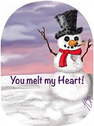 Snow Scene Drawings Prints - You Melt My HEART Print by Lisa Estep