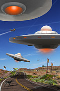 Ufo Posters - You Never Know What You will See On Route 66 Poster by Mike McGlothlen
