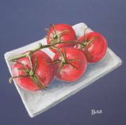 Vegetables Pastels Posters - You say Tomato I say Tomato Poster by Dianne  Ilka