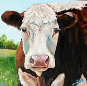 Calf Paintings - You talking to Me by Laura Carey