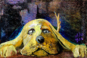 Golden Retriever Mixed Media - You Will Give Me Your Dinner by Miko Zen