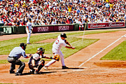 Boston Sox Prints - Youkilis hits one Print by Dennis Coates