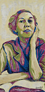 Hall Painting Prints - Yound Eudora Welty Print by Jenny Hall