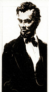 Sepia Drawings Prints - Young Abe Lincoln Sepia 1900 Print by Padre Art