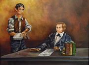 Politicians Painting Originals - Young Abe with the Squire by Carole Powell