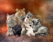 Cat Art Mixed Media Metal Prints - Young And Wild Metal Print by Carol Cavalaris