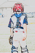 Baseball Uniform Prints - Young baseball catcher during game. Print by Tammy Abrego