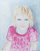 Blue Eyed Girl Prints - Young blue-eyed girl  Print by Barbara Anna Knauf