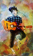 Frets Digital Art Prints - Young Boy Playing Guitar Print by Glenn Monie