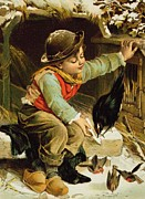 Wintry Painting Posters - Young Boy with Birds in the Snow Poster by English School