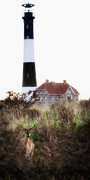 Vicki Jauron Metal Prints - Young Buck and the Lighthouse Metal Print by Vicki Jauron