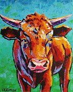 Christine Karron Metal Prints - Young Bull Metal Print by Christine Karron
