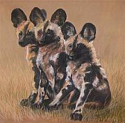Puppies Pastels Posters - Young Cape Hunting Dogs Poster by Jan Fontecchio