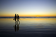 Western Australia Prints - Young Couple Walking on Romantic Beach at Sunset Print by Colin and Linda McKie