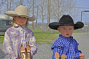 Young Cowboy And Cowgirl Stick Ponies Print by Valerie Garner