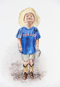 Laugh Painting Prints - Young Cowboy  Print by Irina Sztukowski