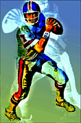Denver Broncos Mixed Media Posters - Young elway Poster by Michael Knight