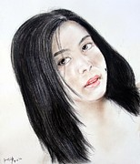 Beauty Mark Mixed Media - Young Filipina Beauty with a Mole on her Cheek by Jim Fitzpatrick