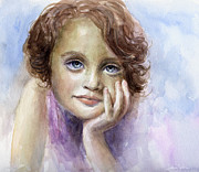 Deep Blue Drawings Posters - Young girl child watercolor portrait  Poster by Svetlana Novikova